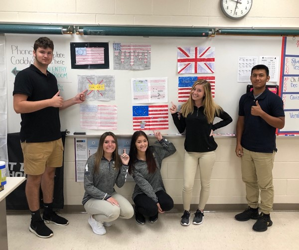 AP Government displaying their Blackout Poetry on the Declaration of Independence.