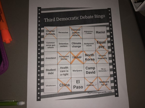11th Grade Government - Democratic Debate Bingo