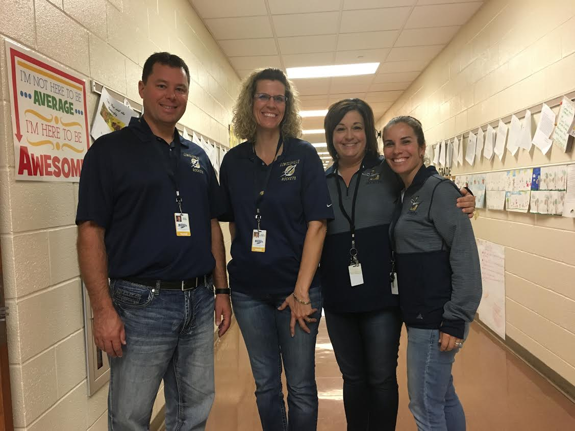 5th and 6th grade teachers, Mr. Olson, Mrs. DiLoreto, Mrs. Havrilla, and Mrs. Sanders on Twin Day!